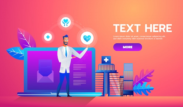 Online diagnosis concept banner with characters. Premium Vector