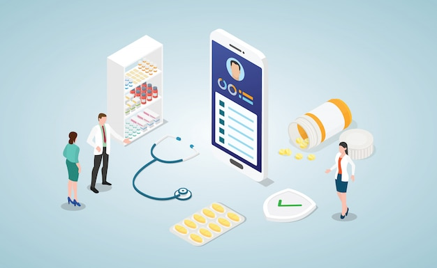 Online diagnosis health medical consultation with doctor with smartphone isometric Premium Vector