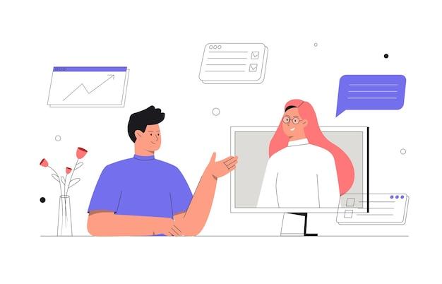 온라인 토론 및 화상 회의 프리미엄 벡터