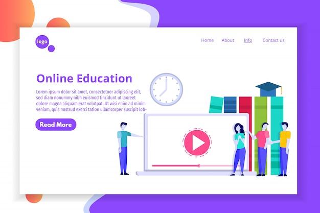 Онлайн концепция дистанционного обучения, интернет-обучение, курсы электронного обучения. иллюстрации. Premium векторы