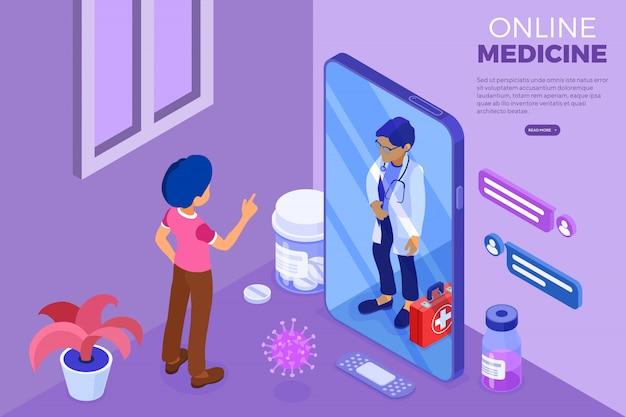 オンライン医師と医療診断等尺性web templaet Premiumベクター