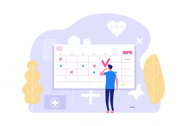 Online doctor appointment. vector man and calendar, planning board, agenda Premium Vector