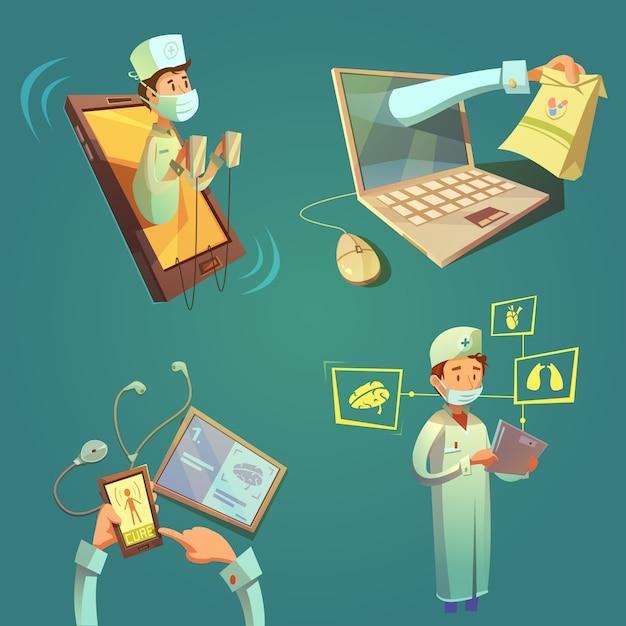 Online doctor cartoon set Free Vector