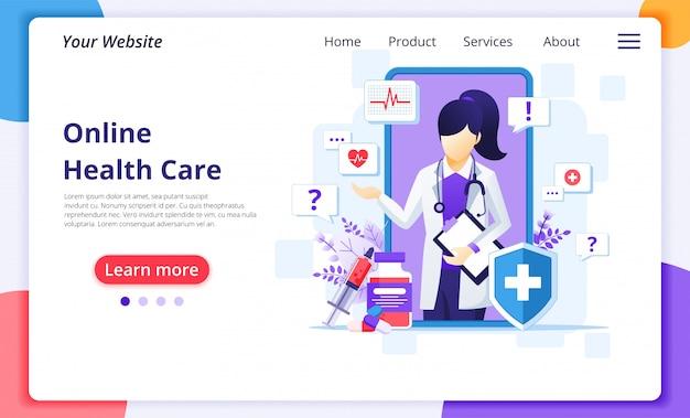 Онлайн концепция доктора, онлайн медицинская иллюстрация помощи здравоохранения. шаблон оформления целевой страницы сайта Premium векторы