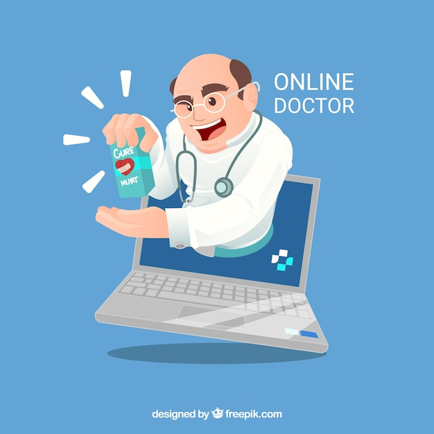 Online doctor concept with doctor in\ laptop