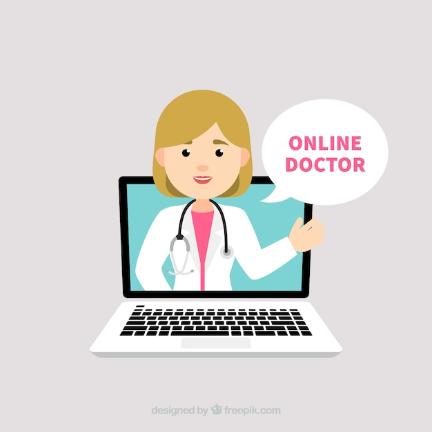 Online doctor concept with female doctor