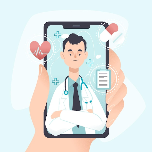 Online doctor concept Free Vector