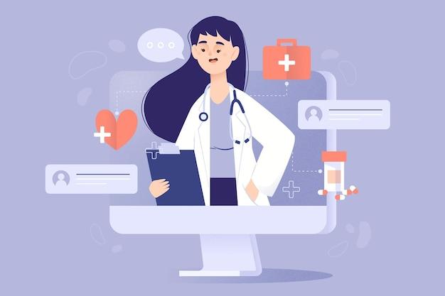 Концепция доктора онлайн Бесплатные векторы