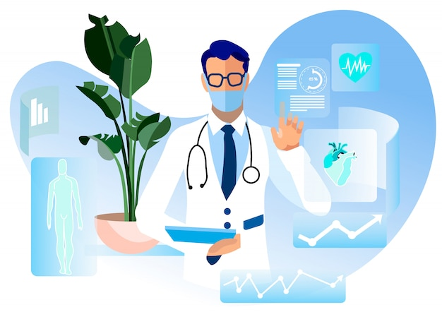 Online doctor consultation advertising flat Premium Vector