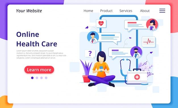 Онлайн концепция консультации доктора, онлайн иллюстрация медицинской помощи здравоохранения. шаблон оформления целевой страницы сайта Premium векторы