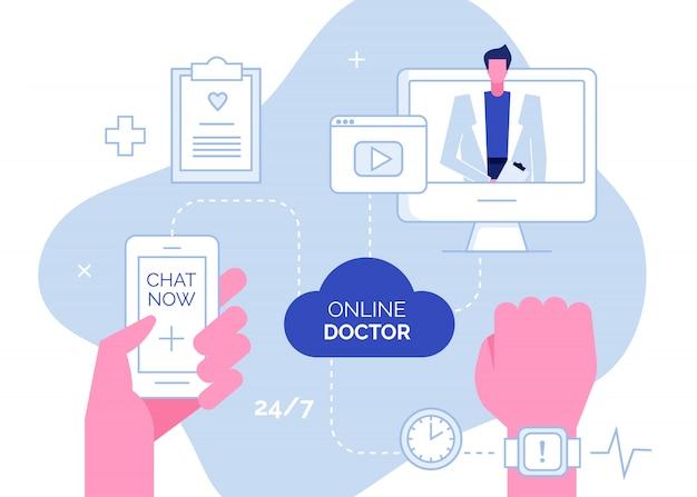 Online doctor consultation support concept Premium Vector