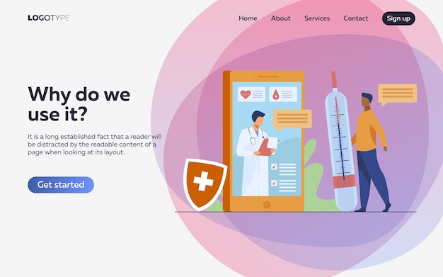 Онлайн консультация врача через смартфон Бесплатные векторы