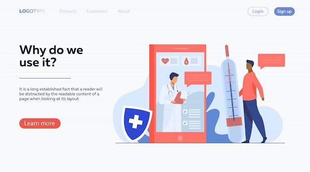 Консультация врача онлайн через смартфон Бесплатные векторы