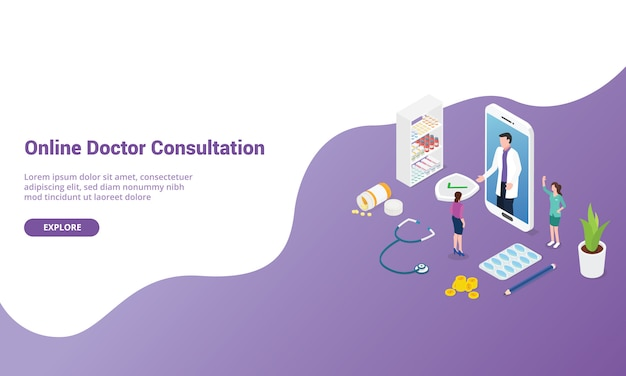 Online doctor consultation for website template or landing homepage with isometric modern style Premium Vector