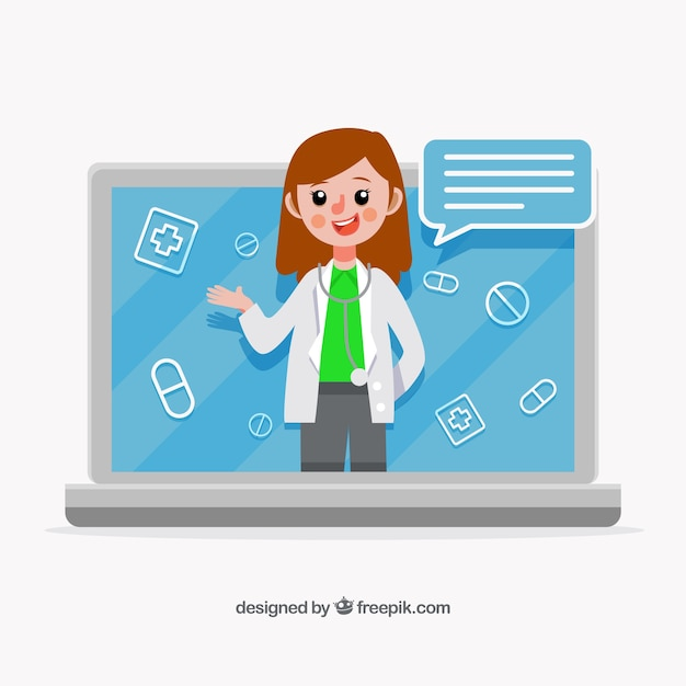 Online doctor design with female doctor in\ laptop