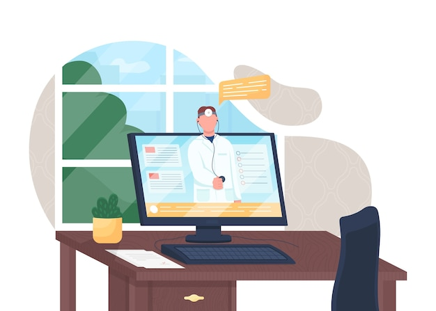 Online doctor flat concept illustration. clinic support. hospital appointment through internet. electronic healthcare 2d cartoon character for web design. telemedicine creative idea Premium Vector