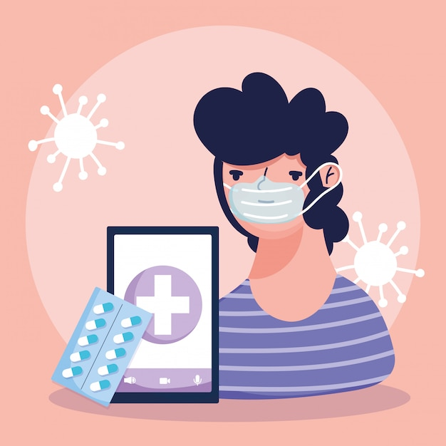 オンラインの医師、患者のスマートフォンが薬丸薬covid 19を梱包 Premiumベクター