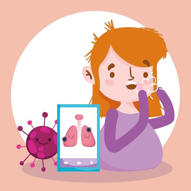 オンラインの医師、咳をした患者とスマートフォンcovid 19 Premiumベクター