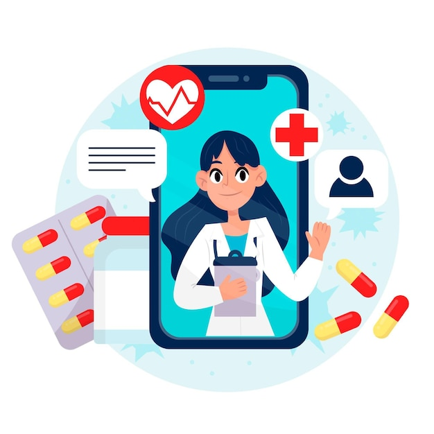 Online doctor talking about treatment and pills Free Vector