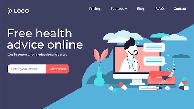 Онлайн доктор крошечные люди векторная иллюстрация дизайн страницы посадки шаблон Premium векторы