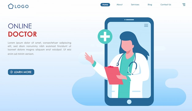 Online doctor website landing page in flat style Premium Vector