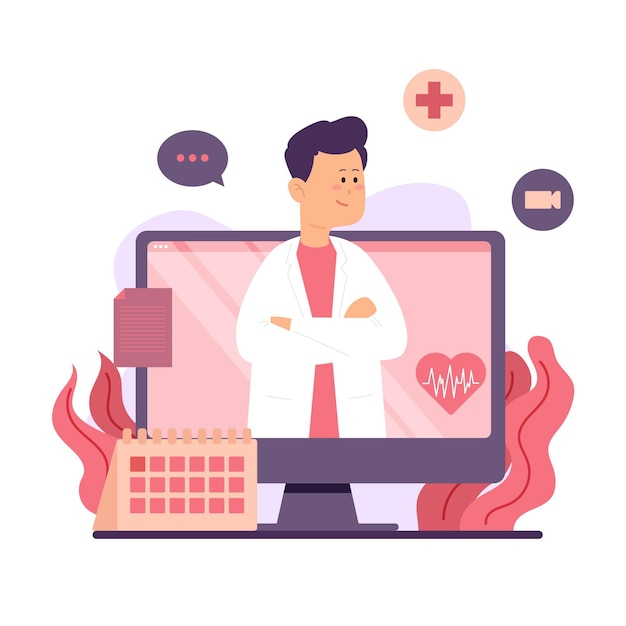 Online doctor in white medical robe Free Vector