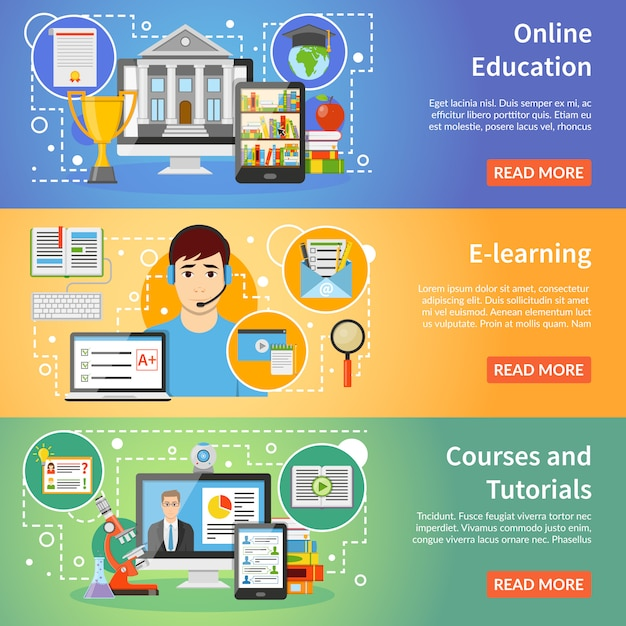 Online education 3 flat banners set Free Vector