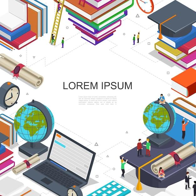 Онлайн-образование и обучающая композиция со студентами в процессе электронного обучения сертификат ноутбука глобус книги будильник в изометрическом стиле иллюстрации Бесплатные векторы