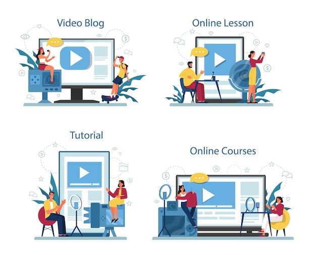 さまざまなデバイスコンセプトセットのオンライン教育およびビデオブログサービスまたはプラットフォーム。ビデオチュートリアル、オンラインコース、ブログ。 Premiumベクター