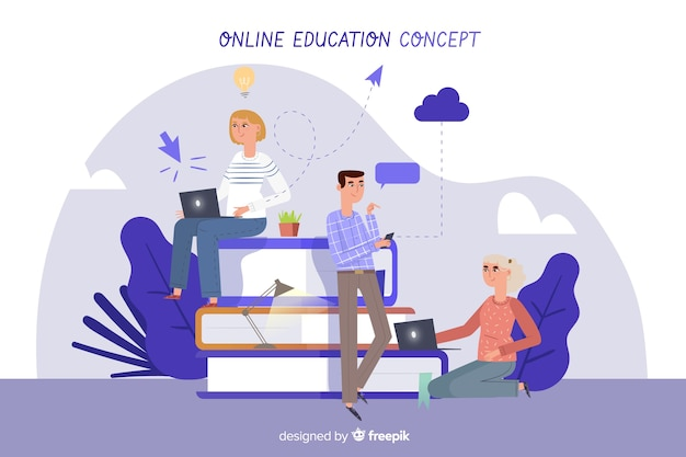 Online education background Free Vector