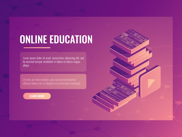 Online education banner, learning isometric electronic courses and tutorials, digital books Free Vector