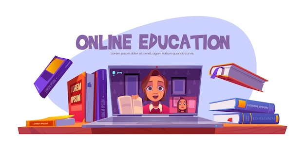 教師とのオンライン教育バナーは、リモートで学生のためのウェビナーを実施します 無料ベクター