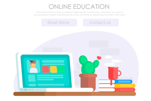 Online education banner Free Vector