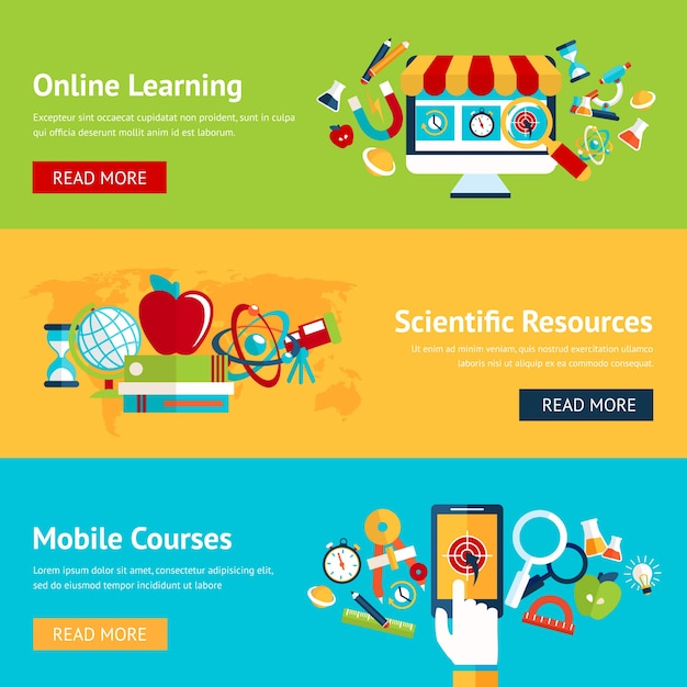 Download This Free Vector Online Education Banners In Flat Design