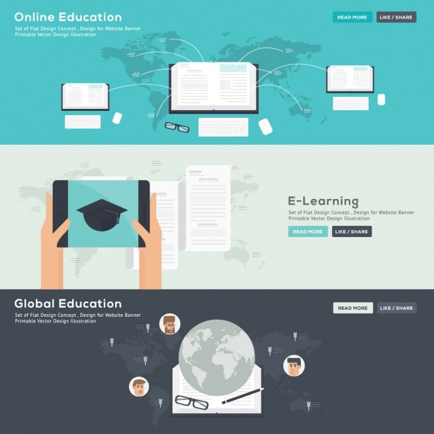 Free Vector Online Education Banners Set