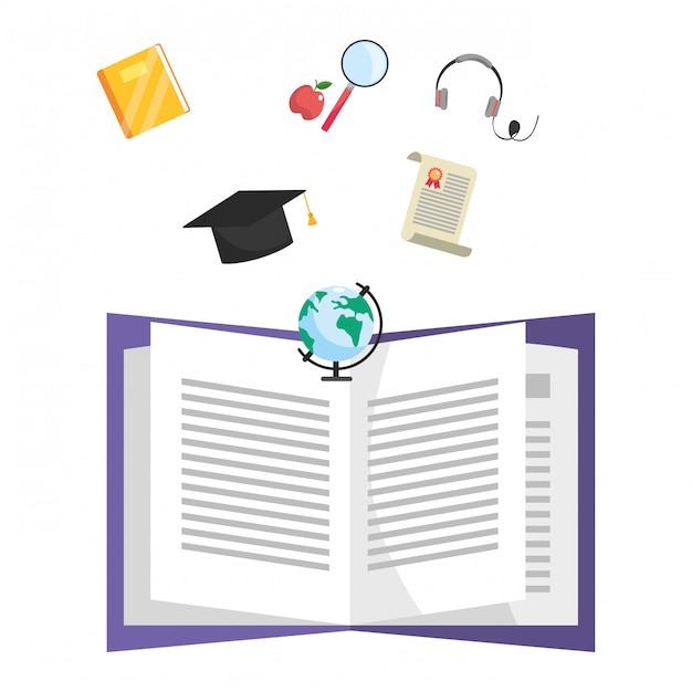 Online education cartoon Premium Vector