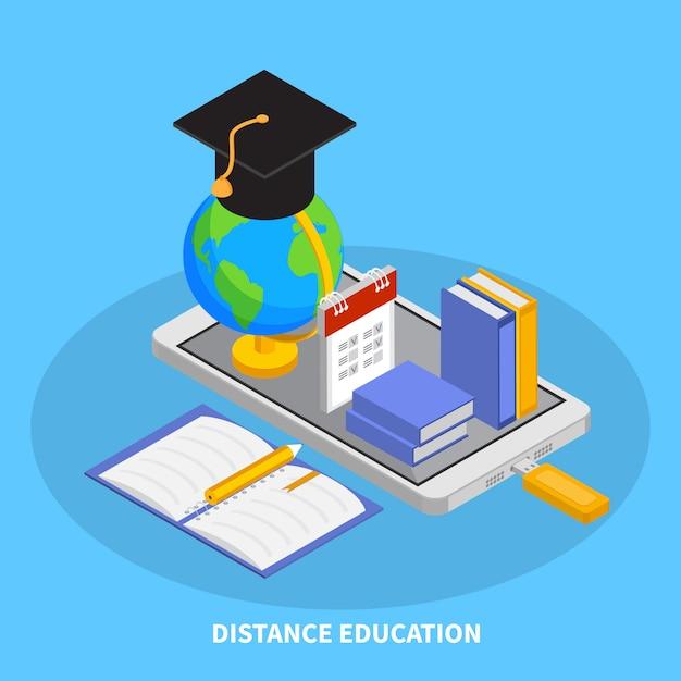 Composizione online in istruzione con l'illustrazione isometrica di simboli di istruzione a distanza Vettore gratuito