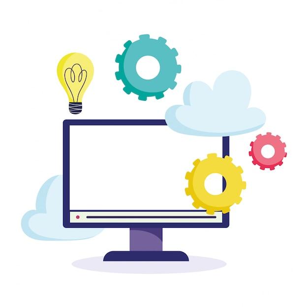 オンライン教育、コンピューターモニターのアイデアギアクラスレッスン Premiumベクター