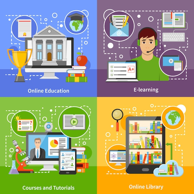Online education concept 4 flat icons Free Vector