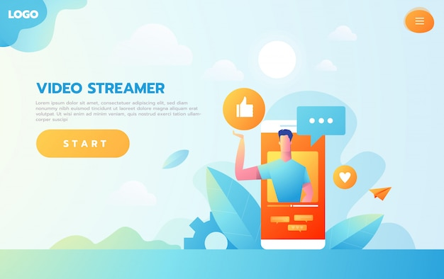 Online education concept. e-learning with flat people doing streaming video course on computer. Premium Vector