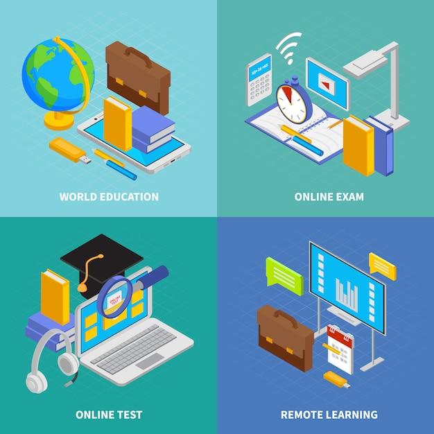 Le icone online di concetto di istruzione hanno messo con l'illustrazione isolata isometrica di simboli di istruzione del mondo Vettore gratuito