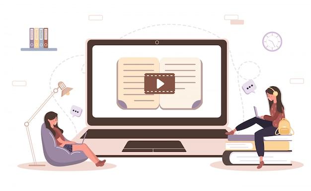 オンライン教育。トレーニングとビデオチュートリアルのコンセプト。自宅で学習する学生。ウェブサイトのバナー、マーケティング資料、プレゼンテーションテンプレート、オンライン広告のイラスト。 Premiumベクター