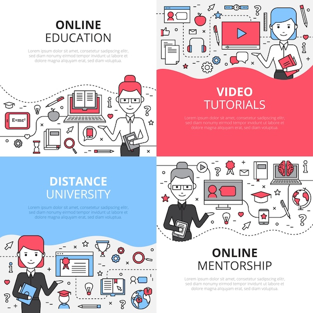Online education concept set with video tutorials distance university and online mentorship Free Vector