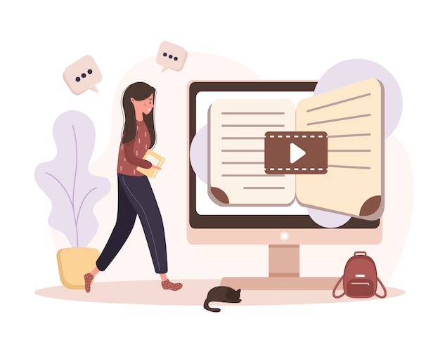 Online education.   concept of training and video tutorials. student learning at home.  illustration for website banner, marketing material, presentation template, online advertising. Premium Vector