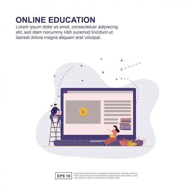 Online education concept vector illustration flat design for presentation. Premium Vector