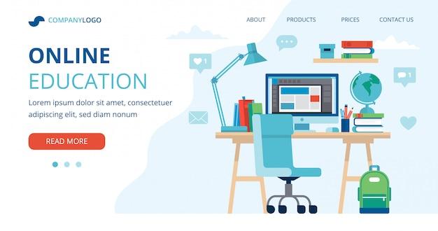 学生の机、コンピューター、ランプ、および本のオンライン教育の概念。 Premiumベクター