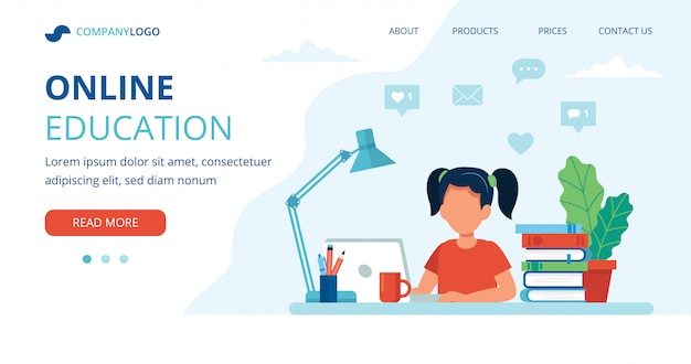 Online education concept with a girl, computer, lamp, and books. Premium Vector