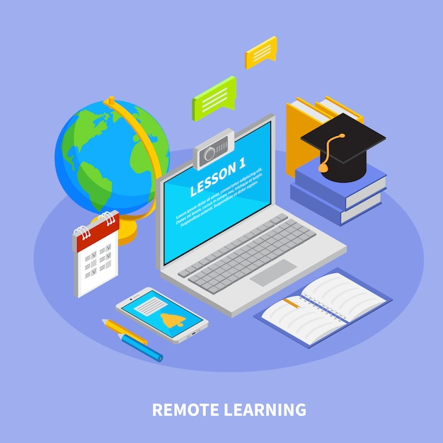Online Education Concept With Remote Learning Symbols Isometric Illustration Free Vector