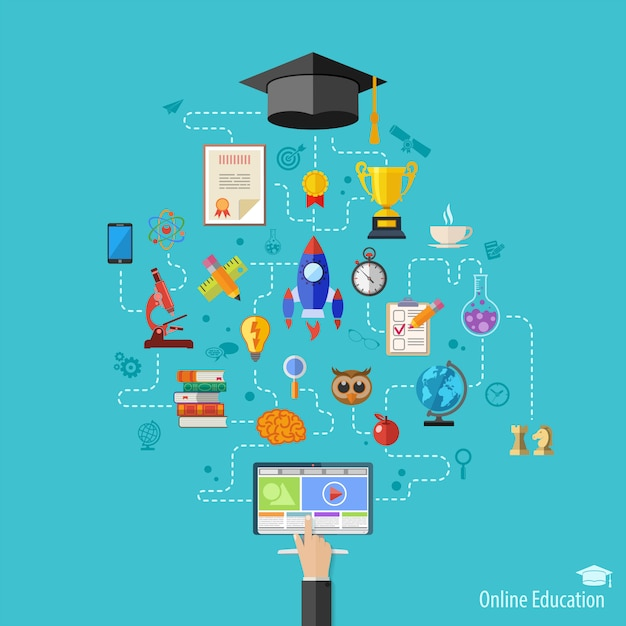 Online education concept Premium Vector