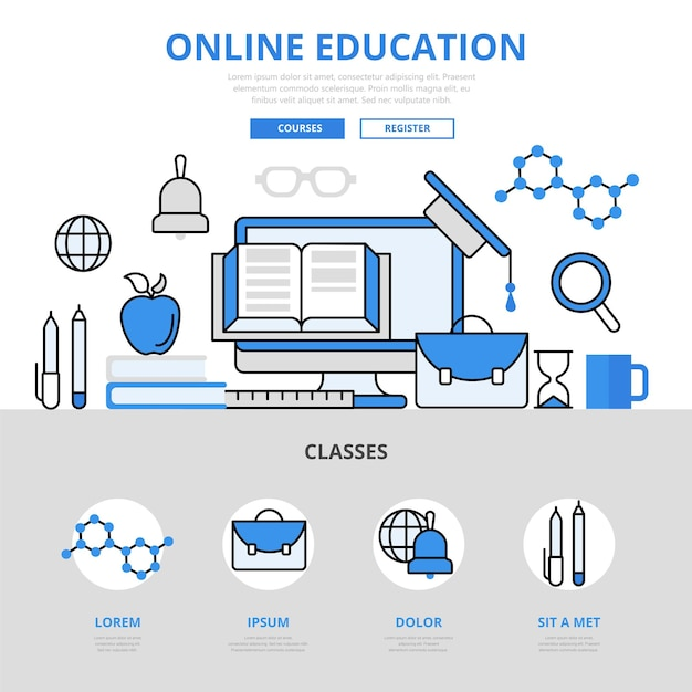 온라인 교육 과정 라이브러리 개념 평면 선 스타일. 무료 벡터